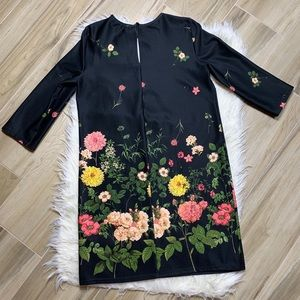 ASOS Dresses - ASOS Black Floral 3/4 Sleeve Dress Size 6